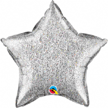 "Silver Glittergraphic Foil Balloon (20"" Star) 1pc"